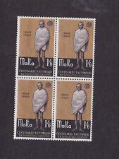 1969 Sc 397 Gandhi (malta),block of four,set MNH      p933