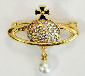 GOLD CLEAR AB CRYSTAL FAUX PEARL ORB PLANET SATURN CROSS BROOCH CHRISTMAS