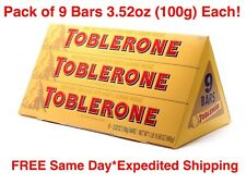 TOBLERONE Swiss Milk Chocolate Honey Almond Nougat 9 Bars 3.52oz (100g) Each