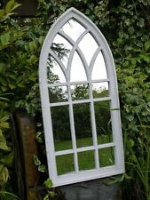 LARGE Shabby Chic Arch Mirror, Weathered Window Style Bordering Clean Mirrors