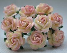 50 ROSE PINK Rose (1cm) Mulberry Paper Flowers wedding & miniature