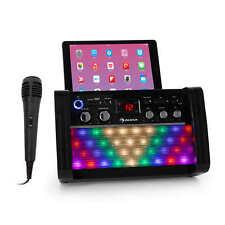 Karaokeanlage Bluetooth Lautsprecher Party Disco LED CD Player Mikrofon schwarz