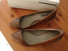 bnib reiss designer low heeled court shoes kitten heel leather brown size 4 £129