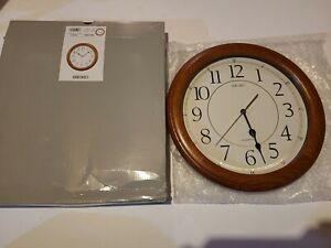 BRAND NEW Seiko Solid Oak Quiet Sweep Wall Clock QXA129BLH