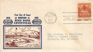 976 3c Fort Bliss, Sanders thermographed cachet in blue and brown [061021.1208]