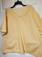 Homemade 3X Scrub Top-(Tafford style)-Tiny Flowers on Yellow print-soft cotton