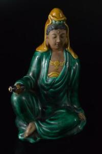 P3504: Japanese Old Kutani-ware Colored porcelain GUANYIN BUDDHIST STATUE Kannon
