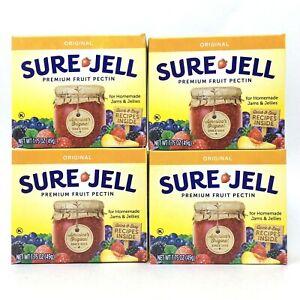 4 Pack Sure-Jell Original Premium Fruit Pectin 100% Natural 1.75 oz Exp 6/24 Jam
