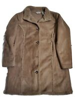 LL Bean Faux Suede Coat Faux Fur Sherpa Lined Brown Jacket Womens Size Large