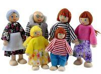 6 Wooden Family Members Dolls Set. Kids Children Toy Dollhouse Figures Dressed.
