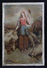 étude : école américaine XIXème signée Ball :jeune bergère parmi ses moutons USA