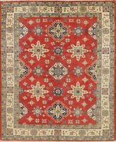NEW 9x11 Kazak Oriental Wool Hand-Knotted Geometric RED Pakistan Area Rug CARPET