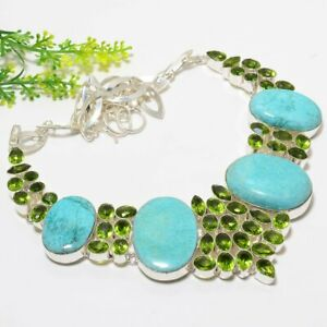 """Green Chrysocolla & Peridot Ethnic 925 Sterling Silver Necklace 17.99""""(7158)"""