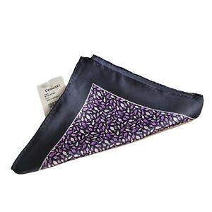 Patterned Pocket Square Handkerchief Blue Purple fish Pattern 100% Silk