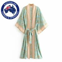 Vintage Green Floral Bat Sleeve Boho Kimono Waist Tie V-Neck Long Maxi Dress