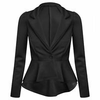 New Women's Ladies Crop Frill Shift Slim Fit Peplum Blazer Jacket Coat Size 6-26