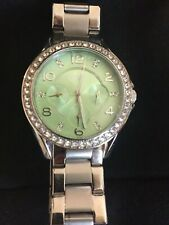 Fossil Ladies Watch With Pale Green Face And Rhinestones