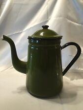 Vintage Avocado Green Black Enamelware Coffee Pot With Stylish Curves