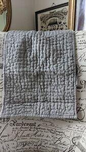 "Restoration Hardware Belgium Linen Quilted Coverlet Sham Gray 14""x22"" NIP French"