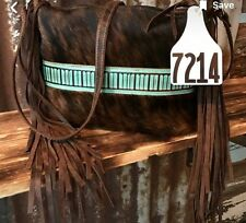 Holy Cow Couture Crossbody Bag Fringe Cowhide Purse Brown Teal