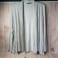 Always Indigo Small S White Cardigan Black Polka Dot Sweater Long Sleeve Womens