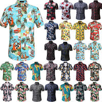 Men Summer Casual Dress Shirt Floral Short Sleeve Hawaiian T Shirt Top Beach Tee