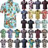 Mens Summer Casual Dress Shirt Floral Short Sleeve Hawaiian T Shirt Top Beach US