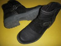 Earth Origins Phoenix Leather & Suede Side-Zip Ankle Boots Women's 6.5 M Black