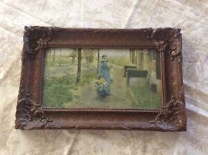 """Antique Framed Print Carved Wood Frame - 15"""" X 10"""""""