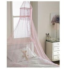 POPSICLE PINK SEQUINED VOILE BED CANOPY CURTAIN MOSQUITO MESH NET NETTING DOME