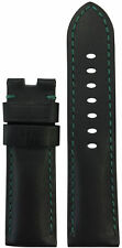24mm Panatime Black Calf 190 Leather Watch Band w GS For Panerai Deploy 24/22
