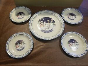 Christmas Dishes Snowman Stoneware  LET IT SNOW 5 Pc Dinner & Bread Plates
