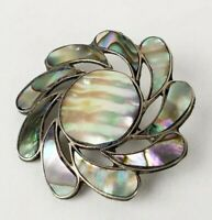 Beautiful Vintage Mexico Sterling Silver Abalone Brooch Pin