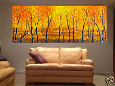 Very Large Fine Aboriginal oil Painting Landscape Flowers Trees Fire Bush