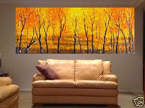 original Canvas Art Tree Bush fire Painting  landscape  artwork wall décor