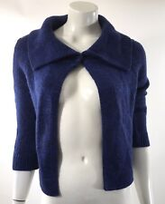 New York Company Womens Cardigan Sweater Size XS Blue Button Fold Over Collar