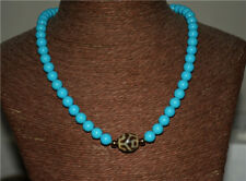 tibetan turquoise necklace green blue old ancient lotus dzi bead amulet genuine