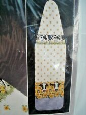 """Ironing Board Cover & Pad Gingham Cows 54"""" 100% Cotton & Foam Pad Country Farm"""