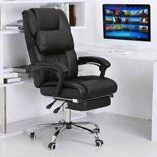 Executive Office Chair Reclining High Back Leather Swivel Computer Footrest  Seat
