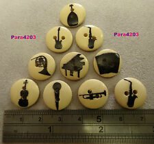 10 X WOODEN BUTTONS - MUSICAL INSTRUMENTS - CARDMAKING/SCRAPBOOKING - **UK SELL*