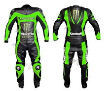 MEN Black GREEN Kawasaki Motorcycle BikeRiding Leather Suit Jacket Leather Pants