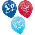 4th of JULY PATRIOTIC LATEX BALLOONS (15)~ Summer Party Supplies Helium Red Blue