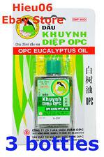 3 x OPC Eucalyptus Oil - Cold Flu - Runny nose - Aches - Headache - Nausea