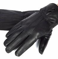 New Women's Black Winter Warm Genuine Leather Gloves Thermal Insulation Lambskin