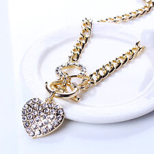 Woman Gold Chain Bling Rhinestone Toggle Clasp Heart Love Pendant Short Necklace
