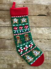 Christmas Knit Stocking Gingerbread Hallmark Vintage Red Green 1994 21""