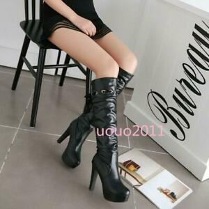 Women's Block High Heel Platform Lace Sweet Knee High Boots Fashion Lined Shoes