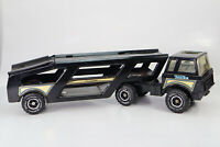 1980's LARGE Black Mighty TONKA Pressed Steel Car Transporter Carrier #5202