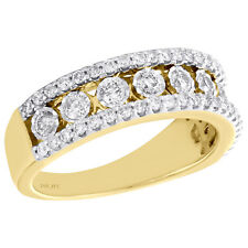 10K Yellow Gold Round Diamond Mens Wedding Band Bezel Set Design Ring 1.30 CT.