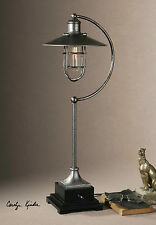 """NEW 26"""" ANTIQUED SILVER METAL TABLE LAMP BLACK ACCENTS OLD WORLD SHADE LIGHT"""